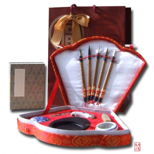 Gift Set - Chinese Calligraphy writing set red fan shaped (F535) small calligraphy book